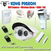 Exterior inalámbrico WIFI Cámara de Alarma/GSM 3G Monitoreo Remoto de Video Alarme Sistema Con Doble PIR Seguridad Para El Hogar Detector de movimiento W25