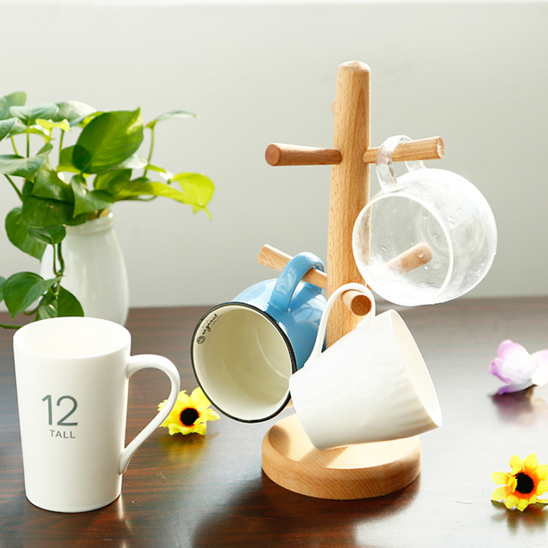 Hot 1set Beach Wood Elegant Tea Cup Storage Rack Kitchen Coffee Cup Holder  Standing Countertop 6