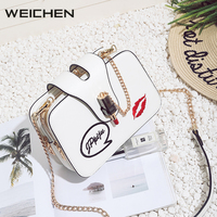 Embroidery Lipstick Small Crossbody Women Bag Casual White Letter Ladies Shoulder Bags Fashion PU Chains Messenger Bags for Girl