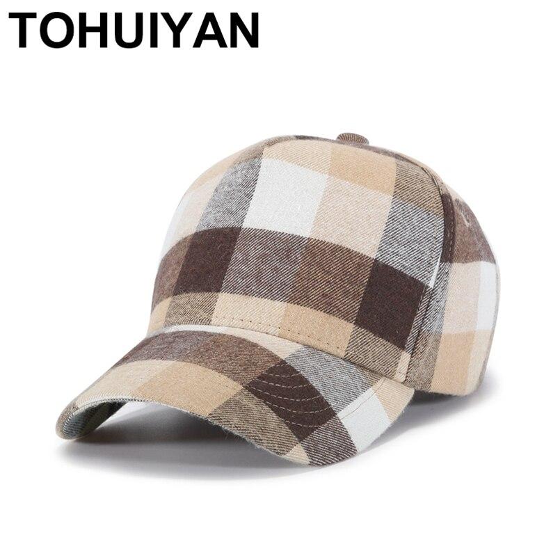 TOHUIYAN Soft Cotton Plaid   Baseball     Cap   Men Women Bone Gorras Snapback Hat Spring Summer Adjustable   Caps   Leisure Casquette Hats
