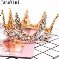 JaneVini Vintage Headdress Gold Bridal Tiara Crowns Jewellery Accessories for Wedding Bride Hair Piece Party Rhinestone Headwear