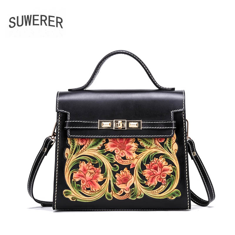 SUWERER 2019 New Women Genuine Leather bags Handmade Carved top cowhide luxury fashion women bags designer women famous brandsSUWERER 2019 New Women Genuine Leather bags Handmade Carved top cowhide luxury fashion women bags designer women famous brands