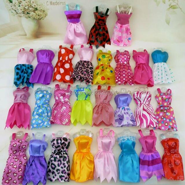 30 Item/Set Doll Accessories = 10x Mix Fashion Cute Dress + 4x Glasses+ 6x Necklaces +  10x Shoes  Dress Clothes For Barbie Doll 4