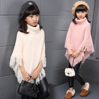 Poncho shawl cloak wrap cape for kid girl tassel turtleneck sweater knitwear baby children outwear warm coat cape and jackets