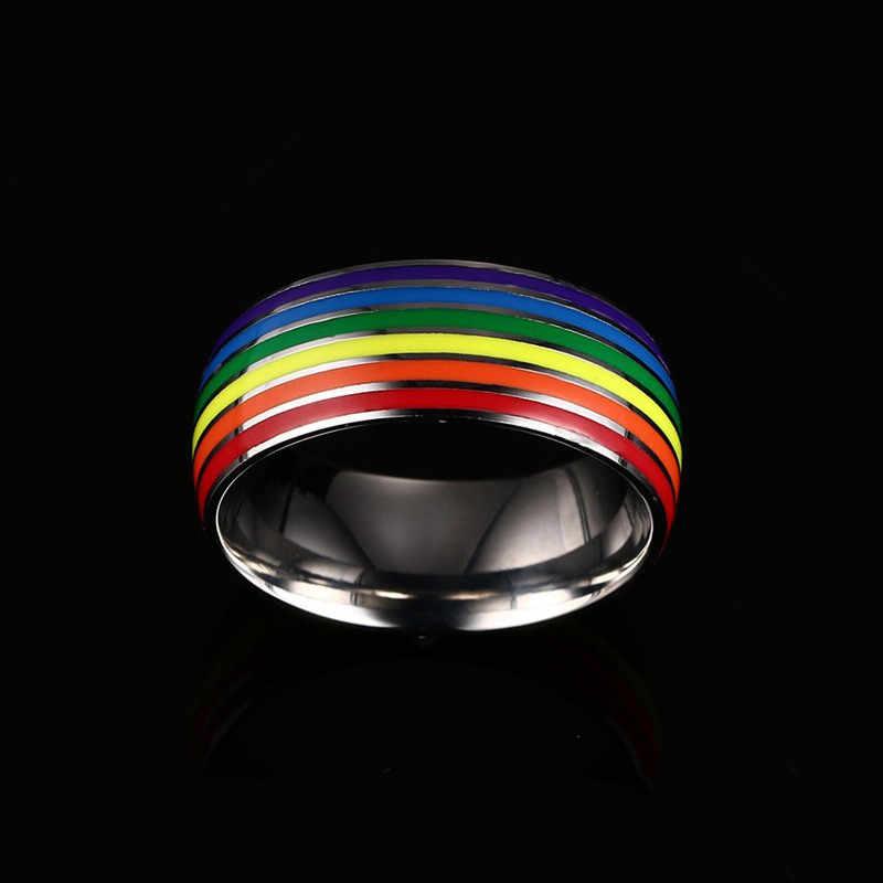 LGBT Anello Arcobaleno Gay Paio di Anelli per le Donne Degli Uomini In Acciaio Inox Lesbiche Girlslove Aggancio di Cerimonia Nuziale Omosessuale Anello Dei Monili