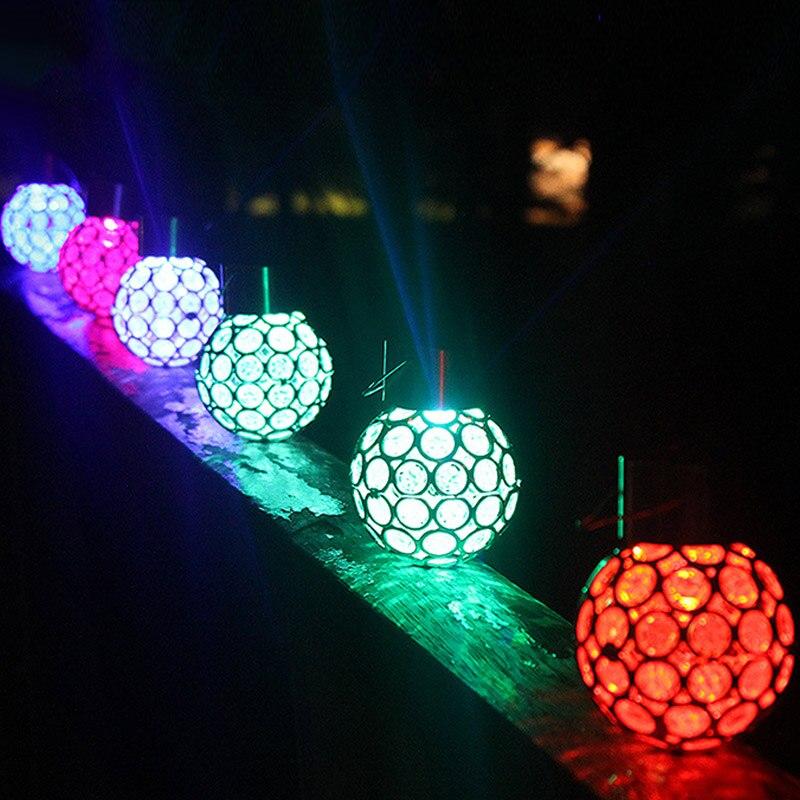 купить Solar LED Hanging Light Lantern Waterproof Hollow Out Ball Lamp for Outdoor Garden Yard Patio ALI88 по цене 295.11 рублей