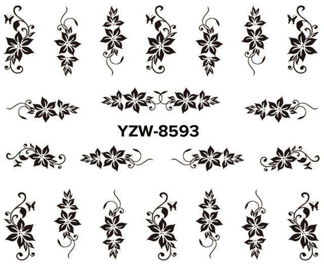Black Lace Flower Nail Art Water Transfer Sticker