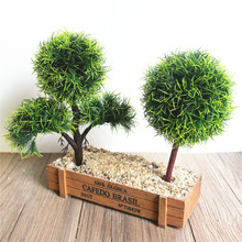 Artificial Flower Plant Potted Green Planting Wedding Home Decoration Small Ornaments Desktop Emulation Plastic Grass Ball 1pcs