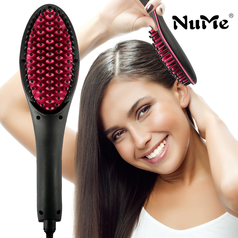 NuMe Ceramic Hair Straightener Brush Fast Straightening hair Electric Comb Flat Iron LCD Display Digital Heating hair Brush Gift infrared flat iron hair straightener mch fast heating dual voltage ceramic plates lcd display flat hair straightener irons