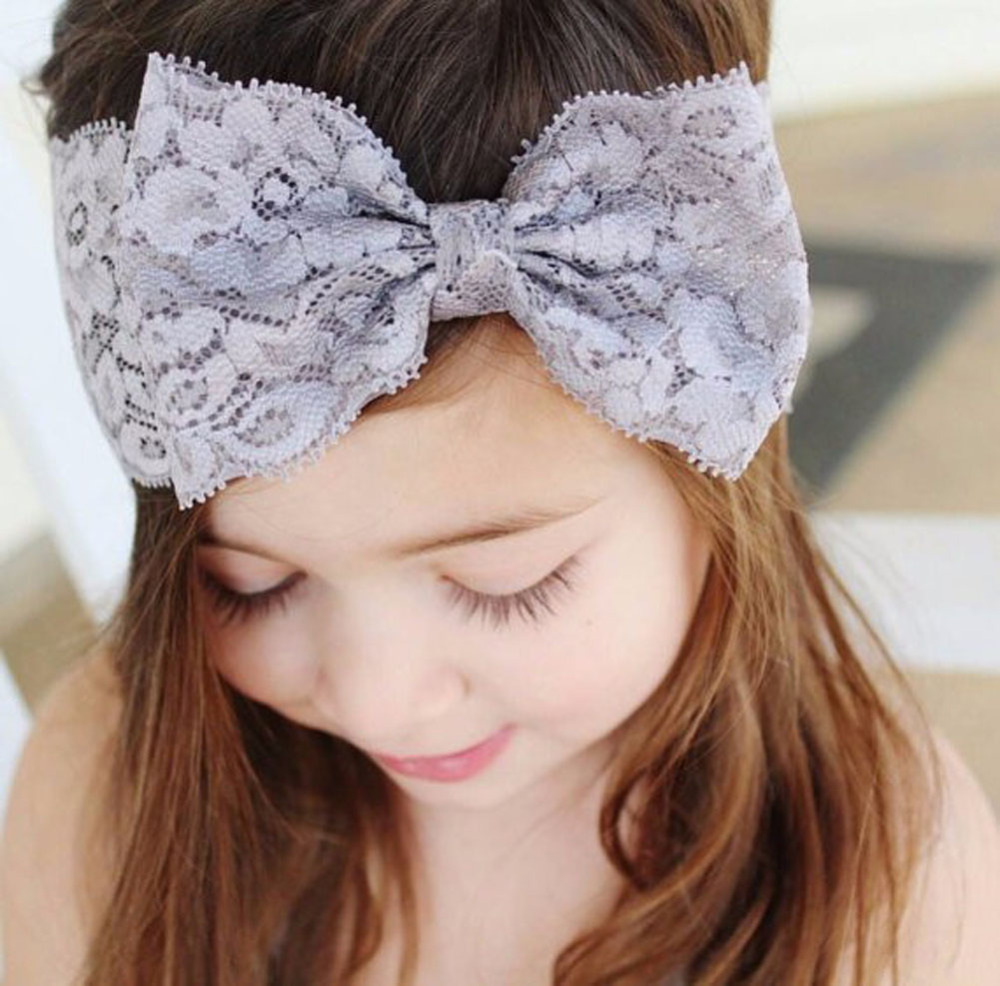 Fancy Children Hair Accessories Children Lace Ribbon Hairband Baby Bow Headwear