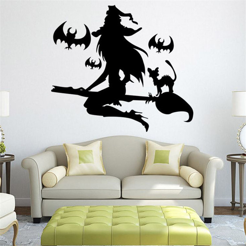 1pc Halloween Witch Wall Stickers Flying Witch Window Glass Decoration Wall Decal Home Decor Festival Favor