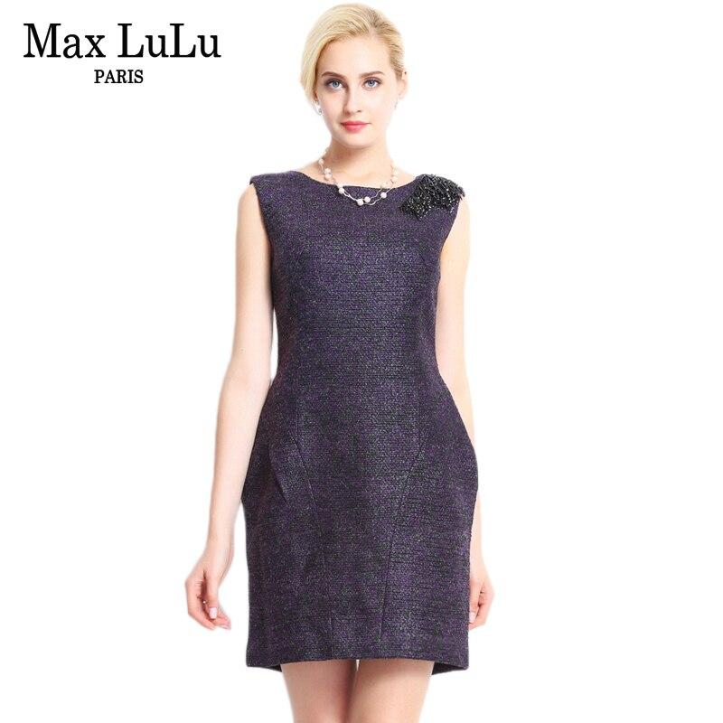 Max LuLu haute qualité luxe solide sans manches vêtements automne femmes débardeur robes soirée Sexy femme a-ligne robe bureau