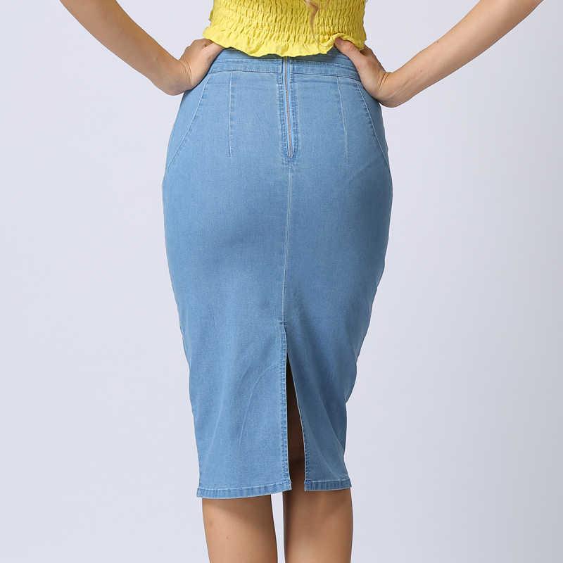 afe74320fa6a ... Chictorso High Waist Denim Skirt Sexy Bodycon Midi Skirt Summer Pencil  Skirt Girls Jeans Skirts Women ...