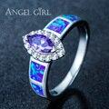 Angel girl natural austrália azul opala anéis para as mulheres jóias anéis cocktail party branco banhado a ouro marquise r67