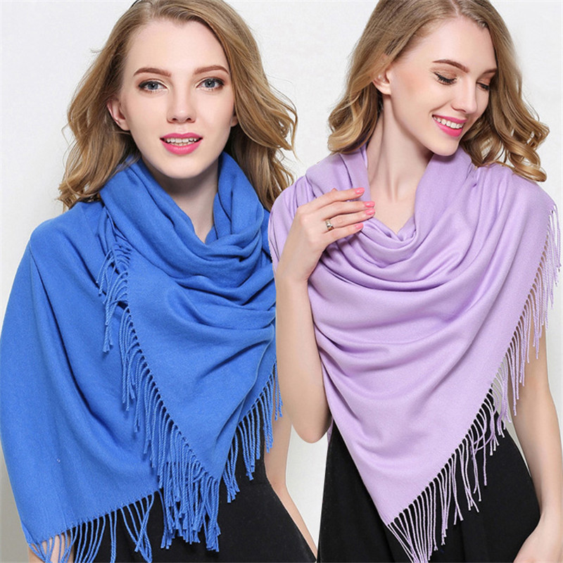 2019 Fashion Women Cashmere Solid Scarf Thin Summer Pashmina  Scarves Shawls And Wraps Soft Long Hijab Stole Female Foulard