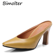 Bimolter High Heel Slippers For Women Black PU Leather Slides Shoes Fashion Online Ladies Mules Pumps FC004