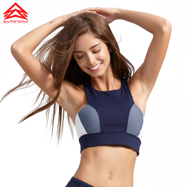 828df7ec6f375 Syprem sports bra women Stitching yoga Fitness bra Sexy Sports Top Running  Brassiere Gym Top tank