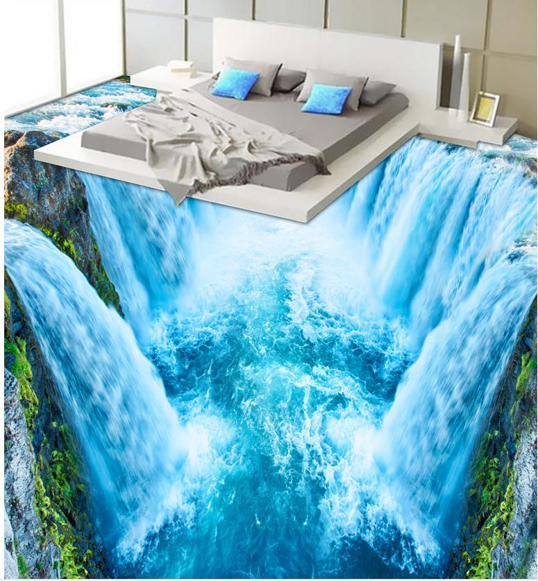 3D wallpaper 3d floor murals PVC 3D waterfall bathroom living room floor PVC waterproof floor Home Decoration      vacation