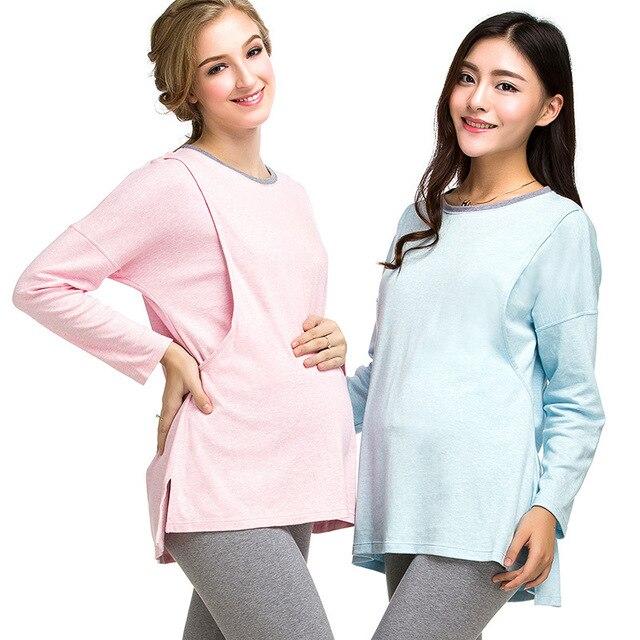 Cotton Maternity Pajamas Big Size Full Sleeve Maternity Sleepwear