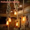 Retro luzes pingente corda sótão lâmpada do Vintage restaurante quarto sala de jantar luminária mão de malha luz corda de cânhamo