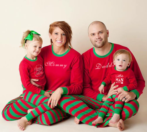 2019 Fashion Family Matching Christmas Pajamas Set Mom Dad Kid Red Stripe Sleepwear Nightwear Xmas Adult Kid Tops Pants Outfits