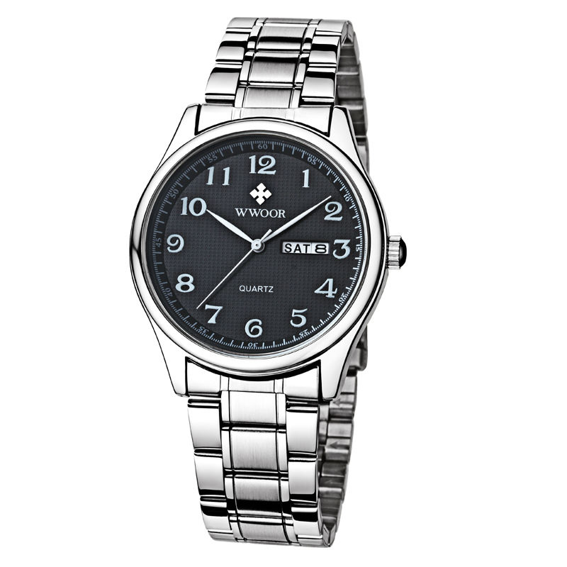 2018 New Brand Men Watch Date Day Stainless Steel Relojes Hours Clock Dress Casual Quartz Watchs Sport Wristwatch Number Fathe steel strap number quartz date watch