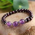 Natural Garnet And Amethyst AAA Natural Beads Bracelet Simple Original High End Crystal Bracelets Fashion Jewelry For Women Girl