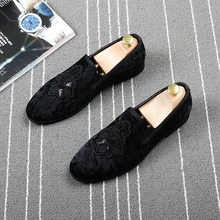 England fashion mens soft velvet leather shoes banquet prom dress slip on embroidery shoe black summer breathable loafers zapato