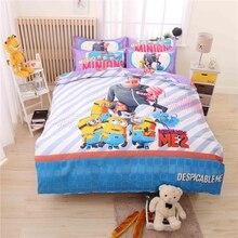 Cartoon Minions Bedding Set for Kids Doraemon Bed Linen 3-4pcs Bedding Duvet Cover Bed Sheet Pillowcase Queen Size Free Shipping