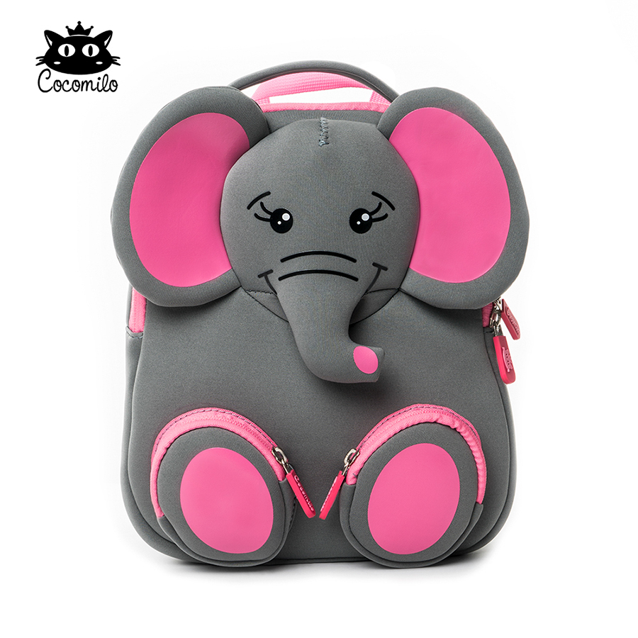 Cocomilo Brand Kids Cute Elephant kindergarten Waterproof Schoolbag Boys Cartoon Children Backpacks for Girls Animal School Bags new children cartoon bags cute elephant mini handbag for girls boys pure cotton animals kids baby bags handmade a limited