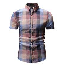 2019 New Mens Shirts Plaid Short Sleeve Casual Male Slim Fit Summer Social Fashion Dress Tops Plus 3XL