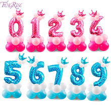 FENGRISE Happy Birthday Balloons Baloon Party Decorations Kids Digital Crown Balloon Helium Number Ballon Babyshower