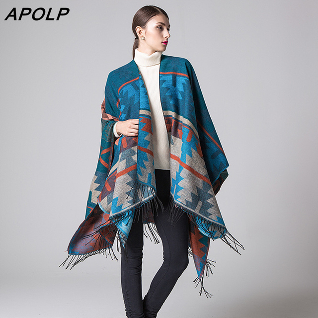 APOLP New Fashion Fringe Ethnic Print Geometric Women Batwing Cape Poncho Knit Top Cardigan Sweater Coat Hip Scarf Shawl