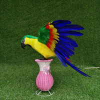creative wings parrot hard model plastic&feather yellow&green parrot bird toy about 65x50cm s2930