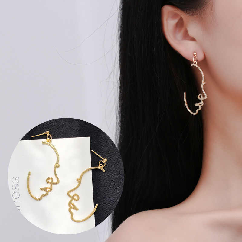 Multiple Choice Face Earrings Retro Metal Abstract Hollow Out Dangle Earrings korean style drop earing  jewelry oorbellen aretes