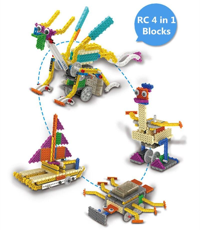 Télécommande RC Science et éducation 4IN1 bricolage déformation assemblage en plastique bloc de construction Robot enseignement jouets fournitures