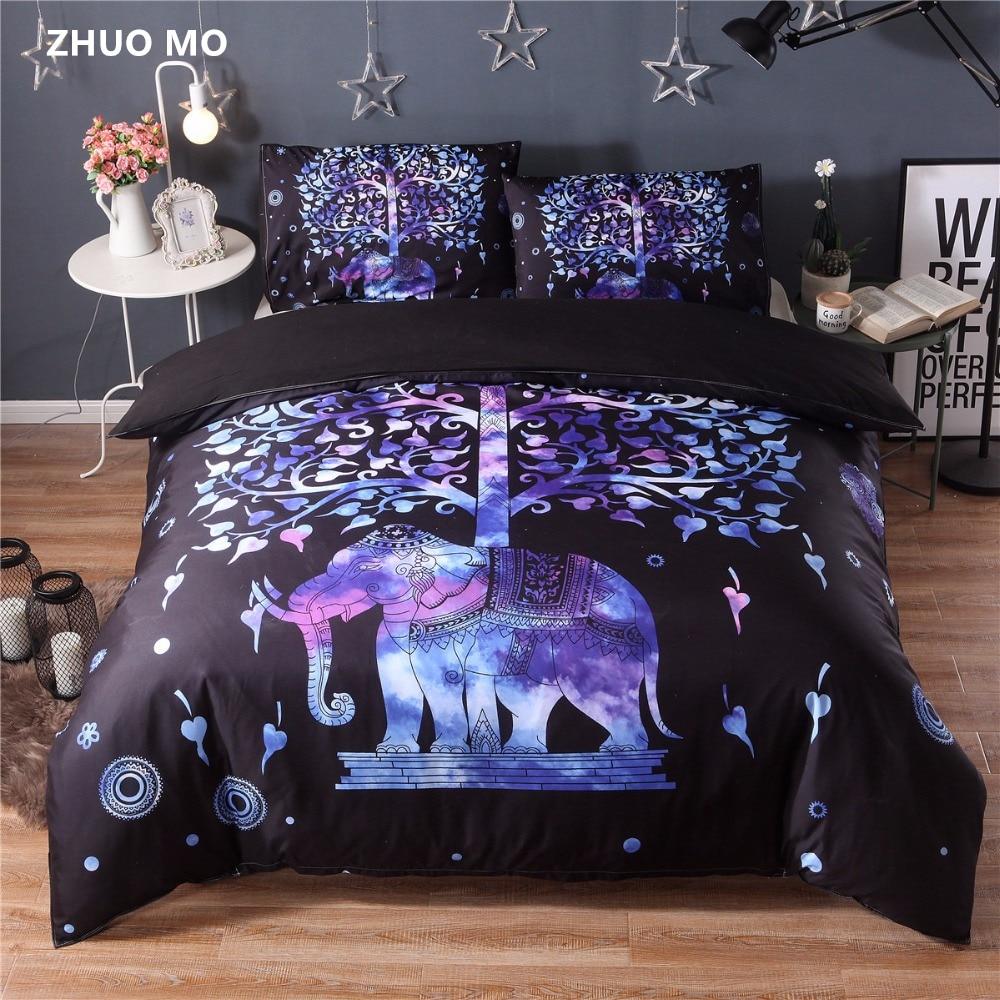 3pcs Mandala ganesha bedding sets Cute elephant comforter Duvet Cover With Pillowcase Black Golden Boho Quilt Cover Bed Set