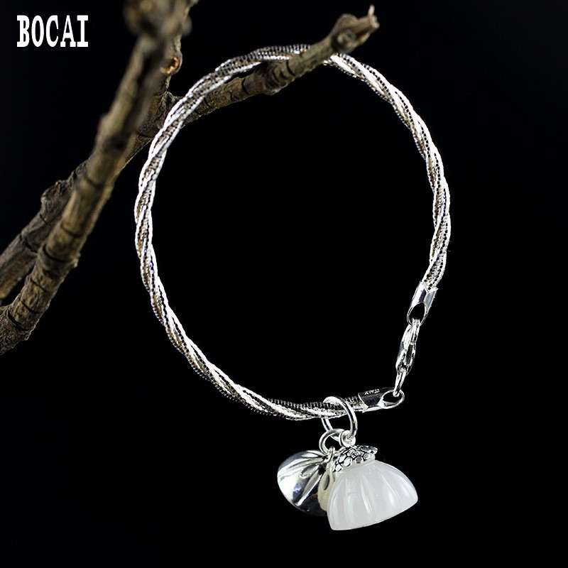 S925 bijoux en argent sterling boutique de mode bricolage design original pierre hétienne naturelle lotus femme bracelet de tempérament pop