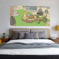 Creative Bed Head Decoration 3D Wall Stickers Cartoon Travelling Frog Pattern for Bedroom Decor Large Size DIY Mural Art Picture