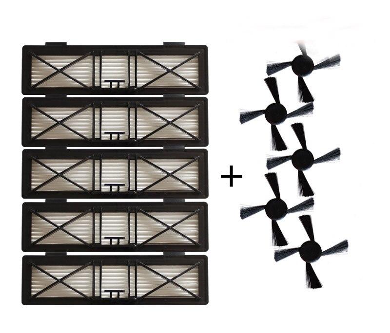 5 шт. ультра preformance фильтр и 5 шт. сбоку Кисточки Замена для Neato botvac серии D 945-0215 фильтр 70e D75 D80 D85 Наборы Запчасти