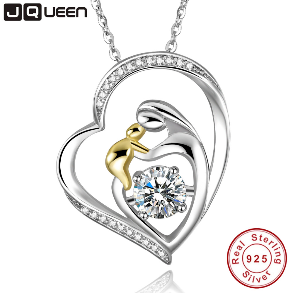 JQUEEN 925 Sterling Silver Mother's Love Jewelry 18k Gold Plated Mom Hold Baby Family Heart Pendant Necklace Chain image