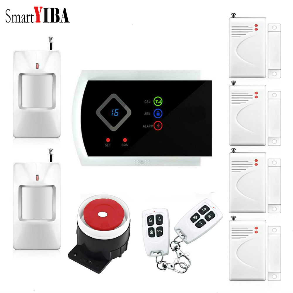 SmartYIBA APP Control GSM SMS Security Alarm System Wireless Door Open Motion Sensor GSM Alarm Kits For Home Burglar Alarm Kits yobang security 30a home security wireless alarm system gsm home burglar alarm kits new version pir infrared gsm sms alarm