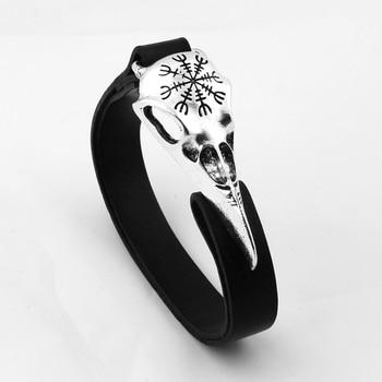 Nordic Viking Odin Symbol Raven Skull Bracelet with Really Leather  Viking Bracelet
