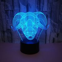 New Animal Sheep Head 3D Table Lamp Lambs Colorful Touch LED Visual Lamp USB Gift Bedroom Night Light