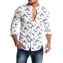 Lo más nuevo para hombre moda Casual pato estampado camisas otoño Slim Fit botón Placket coreano corte Collar manga larga Hombre Negocio Social