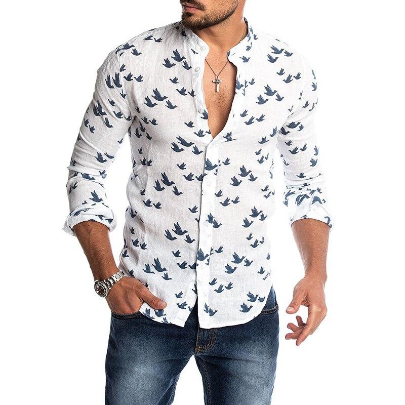 Mens Fashion Casual Printed Shirts Social Summer Hawaiian Slim Fit Button Down Korean Cut Collar Long Sleeve Male Business Beach