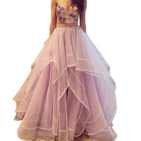 Purple Two Piece Long Prom Dresses 2017 Sweetheart Sequined Embroidery Bodice Tulle Wedding Party Dress Hot