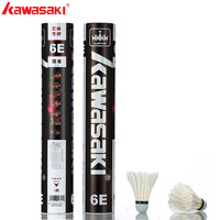 12Pcs Brand Kawasaki Professional Durable Badminton Shuttlecock White Goose Feather Ball Racquet Sports Acc king 6E