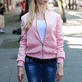 Women Pink Satin Bomber Jacket 2017 winter Spring GIRLS Tour Zipper Jacket Women Long Sleeve Short Outerwear Simple Basic Coat
