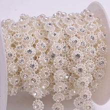 Free shipping 10 yards/lot ivory pearl close clear crystal white rhinestone 10mm diy beauty accessories Rhinestone Cup Chain Fo